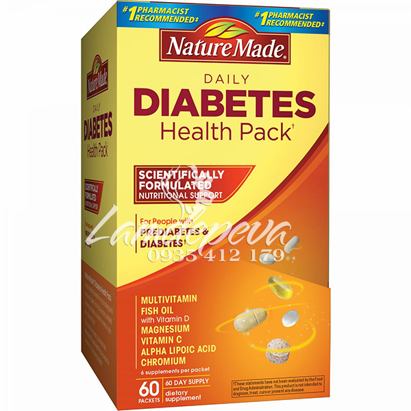 nature made diabetes health pack 60 gói
