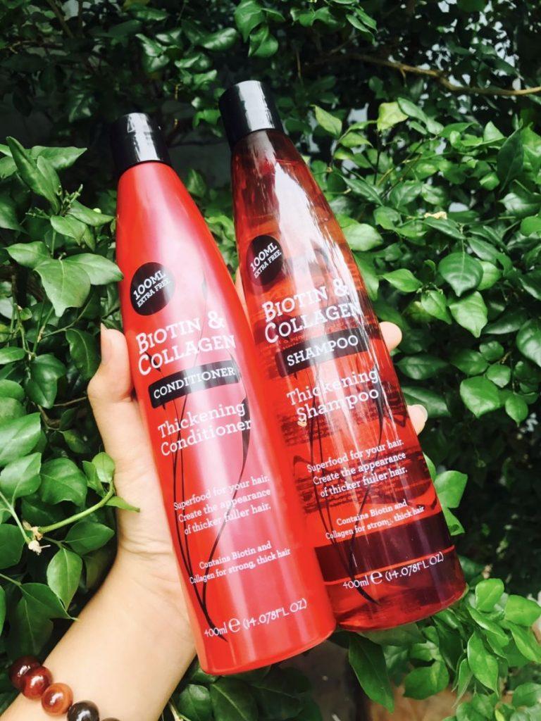 Bộ 2 chai gội xả Biotin & Collagen Thickening màu đỏ 400ml của Mỹ