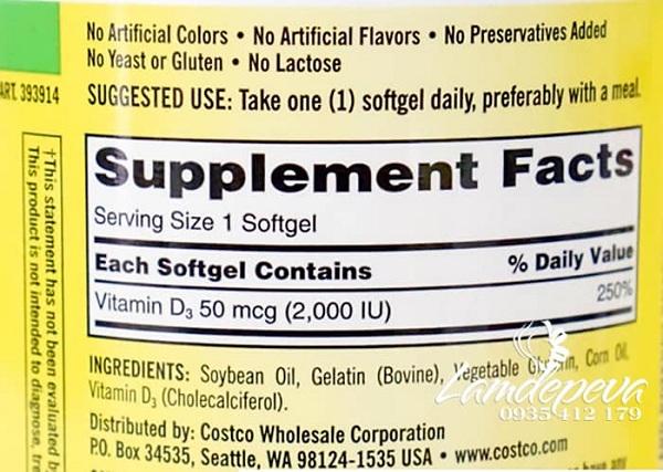 Viên uống Vitamin D3 Kirkland Extra Strength D3 50mcg 2