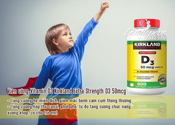 Viên uống Vitamin D3 Kirkland Extra Strength D3 50mcg 3