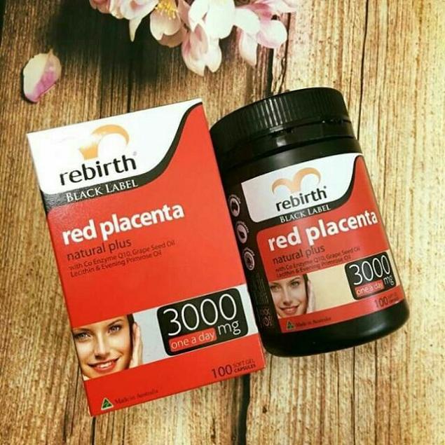 Viên uống nhau thai cừu đỏ Rebirth Red Placenta 3000mg Úc 1
