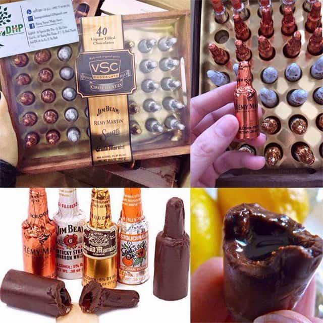 Socola nhân rượu hộp gỗ VSC 40 chai của Mỹ - Hộp quà tặng ý nghĩa 2