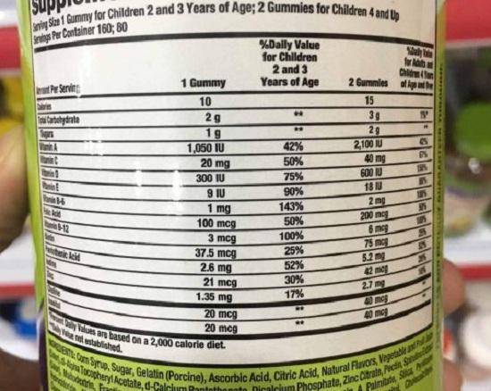 Kẹo dẻo cho bé Kirkland Children's Complete Gummies vị trái cây 6