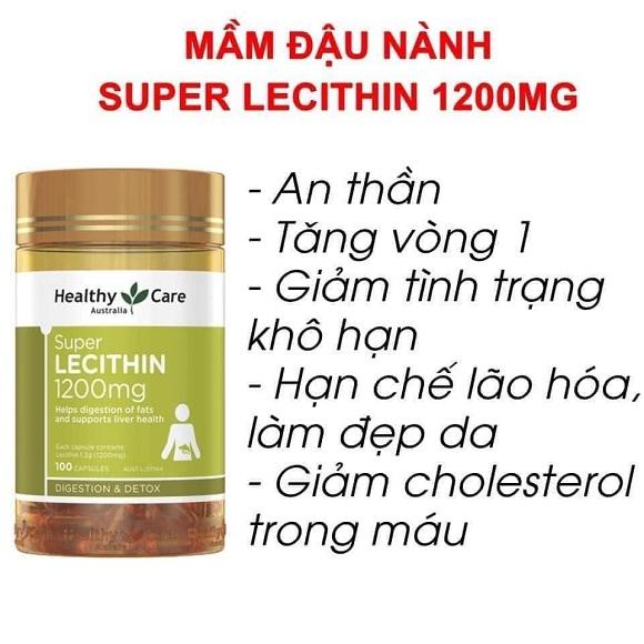 Super Lecithin 1200mg mẫu mới Healthy Care 100 viên Úc 1